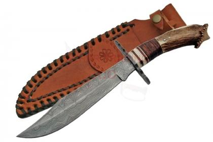 DAMASCUS CROWN BOWIE KNIFE
