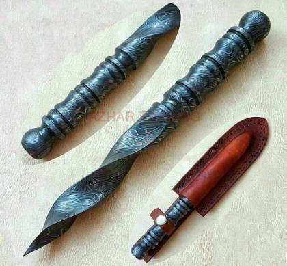 Handmade Damascus Tri Edge Dagger