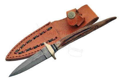 DAMASCUS STAG BOOT KNIFE