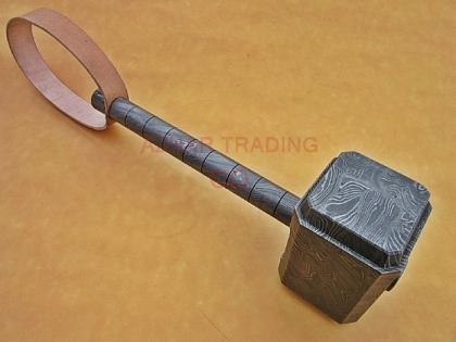 CUSTOM HAND FORGED DAMASCUS STEEL THOR HAMMER