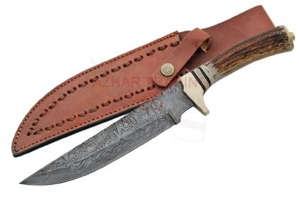 DAMASCUS FILEWORK BOWIE KNIFE