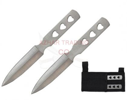 2-Pcs Aero Blades Triple Heart Throwing Knives Set