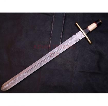 Damascus Hunting Bone Handle Sword