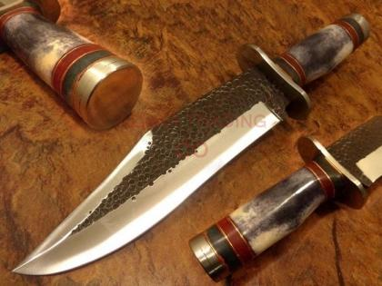 Hammered Carbon Steel Fighter Bowie Knife