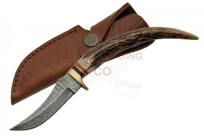 DAMASCUS STAG TIP KNIFE